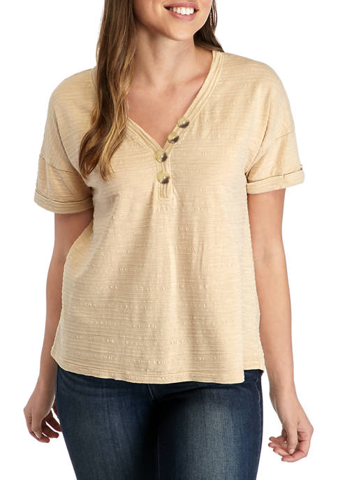 New Directions® Womens Textured Button Front T-Shirt