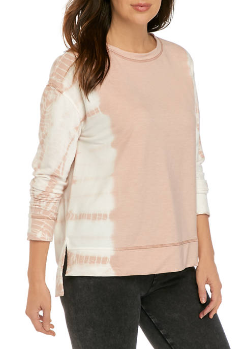 New Directions® Womans Long Sleeve Tie Dye Pullover