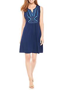 Knit-to-Woven Sleeveless Dress