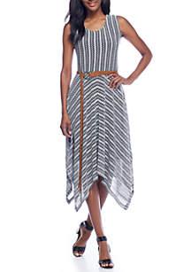 Sharkbite Hem Belted Dress