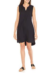 Knit/Woven Sleeveless Henley Dress