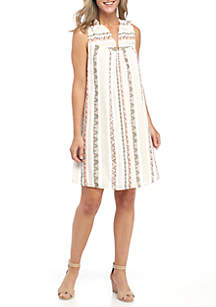 Embroidered Y-Neck Woven Dress