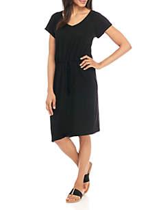 Short Sleeve Drawstring Waist Knit Dress