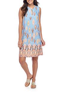 Suede Neckline Dress