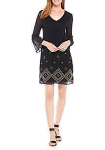 Embroidered Flutter Sleeve Swing Dress