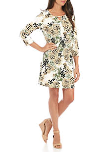 Cutout Neck Swing Dress