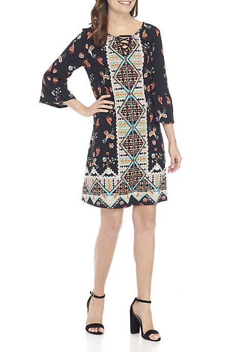 New Directions® 3/4 Bell Sleeve Printed Dress