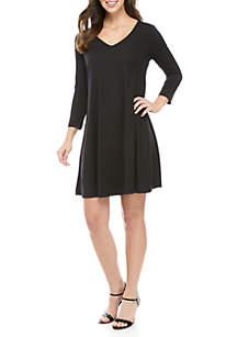 New Directions® 3/4 Sleeve V-Neck Crisscross Back Dress