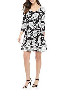 New Directions® 3/4 Sleeve Cross Back Dress