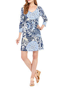f88b0172485d98 ... New Directions® 3/4 Sleeve Floral Shift Dress