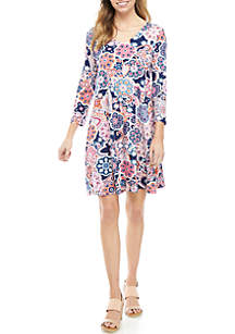 New Directions® 3/4 Sleeve V Neck X Back Pring Swing Dress