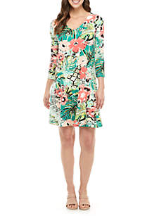 New Directions® V Neck Printed Swing Dress