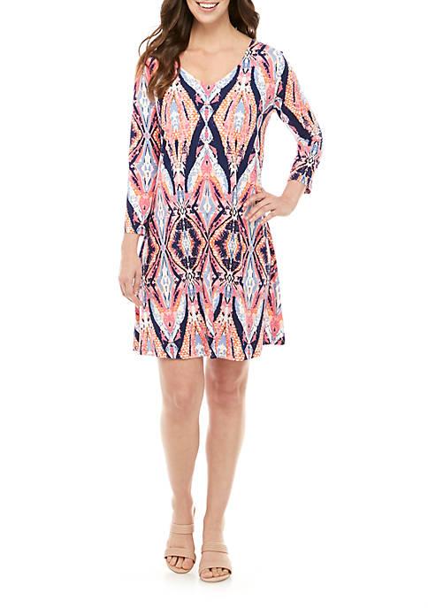 V Neck X Back Printed Dress