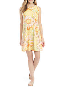 New Directions® Cap Sleeve Printed Swing Dress