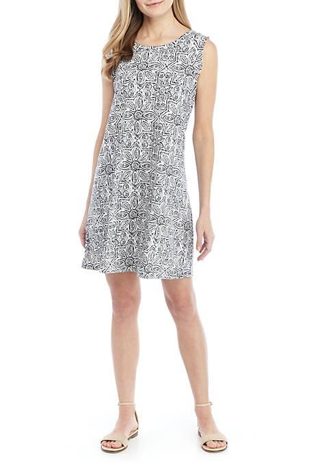 Cap Sleeve Printed Swing Dress