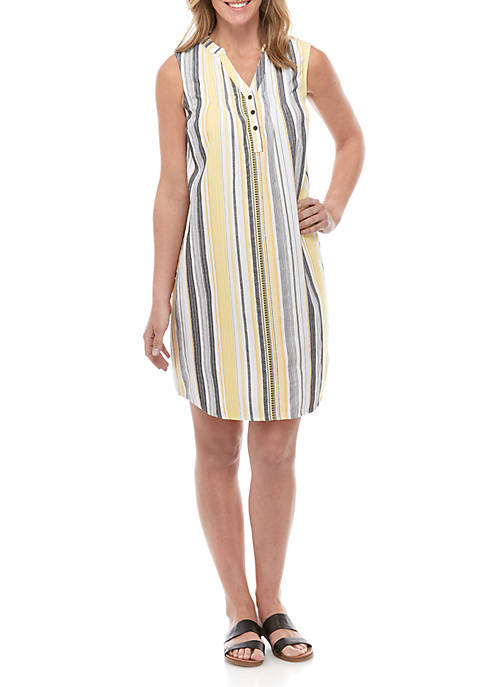 New Directions® Pleated Y Neck Multi Stripe Dress