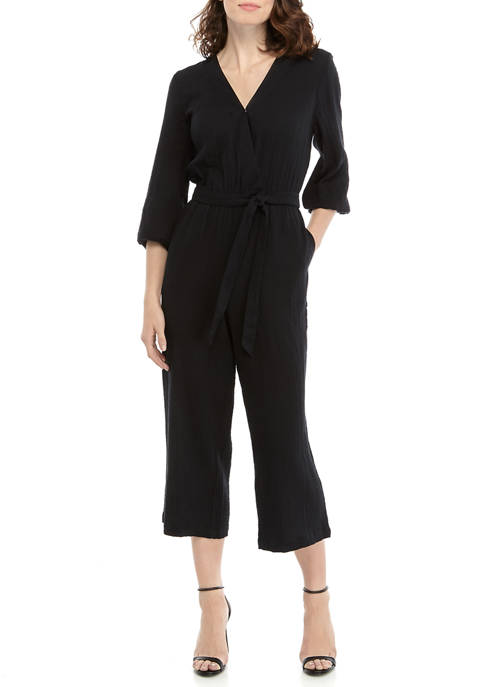 New Directions® Womens Cross Front Cropped Jumpsuit