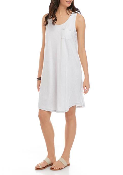 Womens Sleeveless U Neck Striped Dress