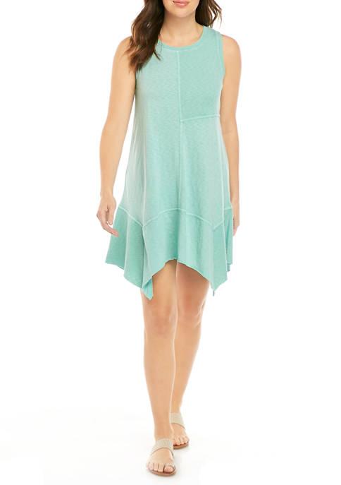 Womens Asymmetric Knit Sleeveless Dress