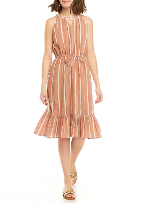 Womens Sleeveless Ruffle Midi Dress