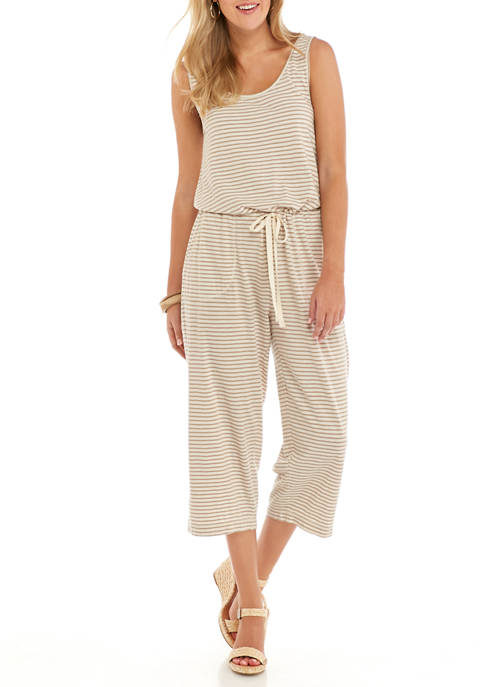New Directions® Womens Sleeveless Knit Stripe Jumpsuit