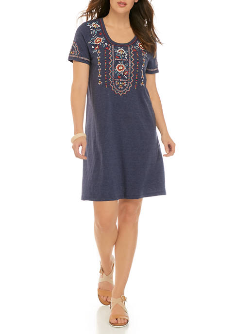 New Directions® Womens Embroidered Crew Neck T-Shirt Dress