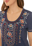 Womens Embroidered Crew Neck T-Shirt Dress