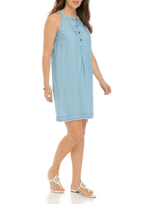 Womens Button Front Halter Neck Dress