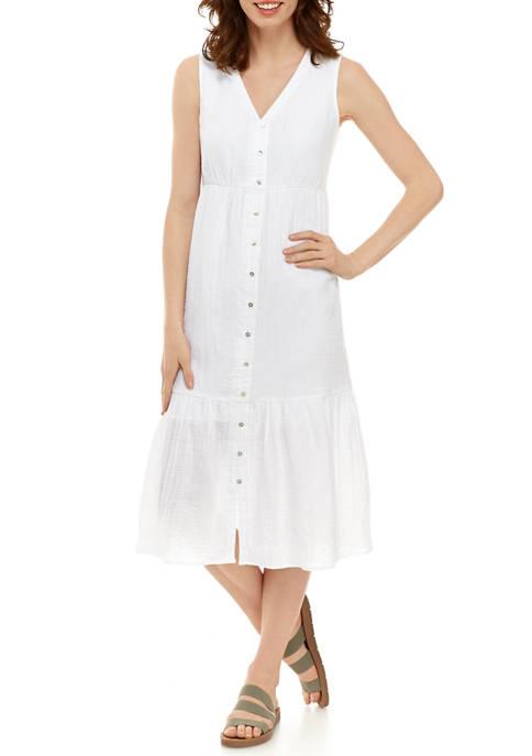 Womens Button Tiered Maxi Dress