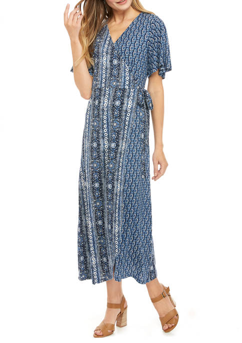 Womens Wrap Front Midi Dress