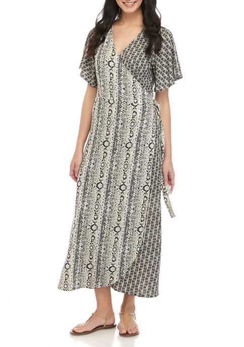 Womens Wrap Front Midi Dress