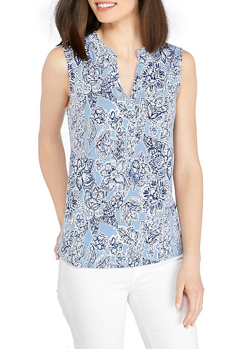 New Directions® Sleeveless Knit Henley Top