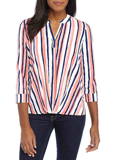 New Directions® Pleated Front Striped Shirt ...