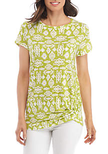Knot Front Twist Neck Top