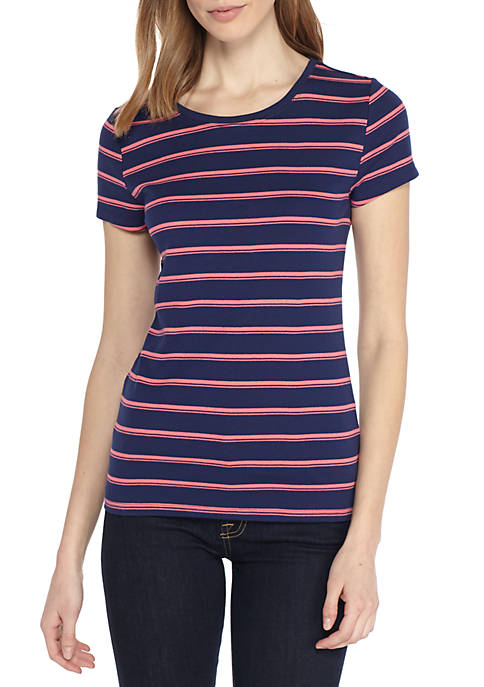 New Directions® Short Sleeve Printed Rib Tee