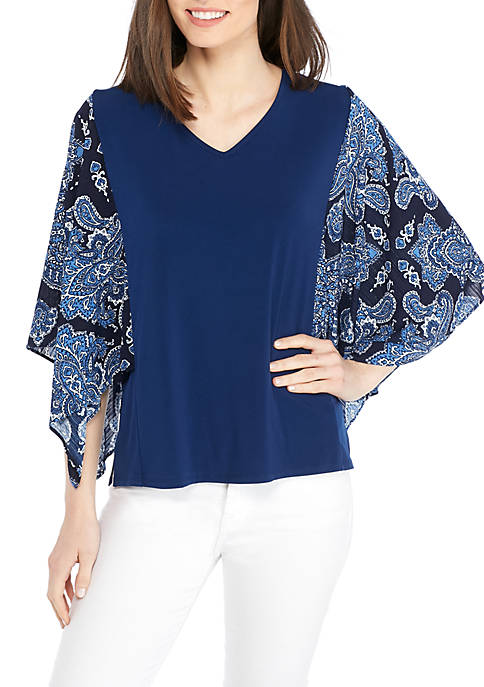 New Directions® Knit Printed Sleeve Top