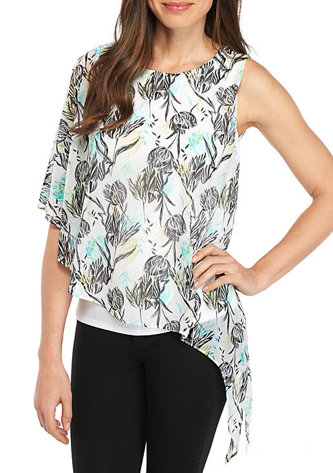 New Directions® Asymmetric Hem Mixed Print Top