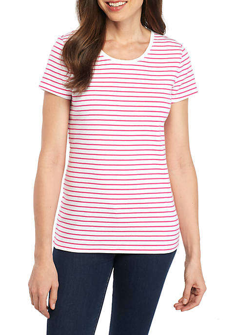 New Directions® Short Sleeve Ribbed Basic Tee