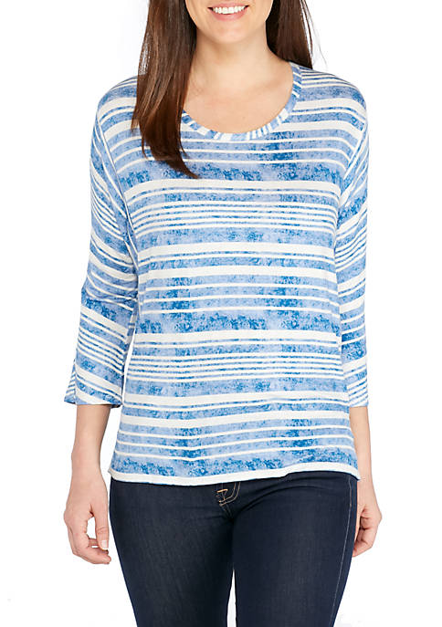 New Directions® Stripe Seam Back Tie Top