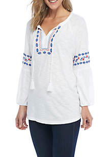 Embroidered Short Sleeve Tie Neck Top