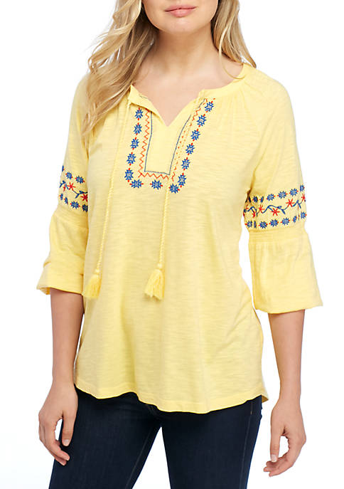 New Directions® Embroidered Short Sleeve Tie Neck Top