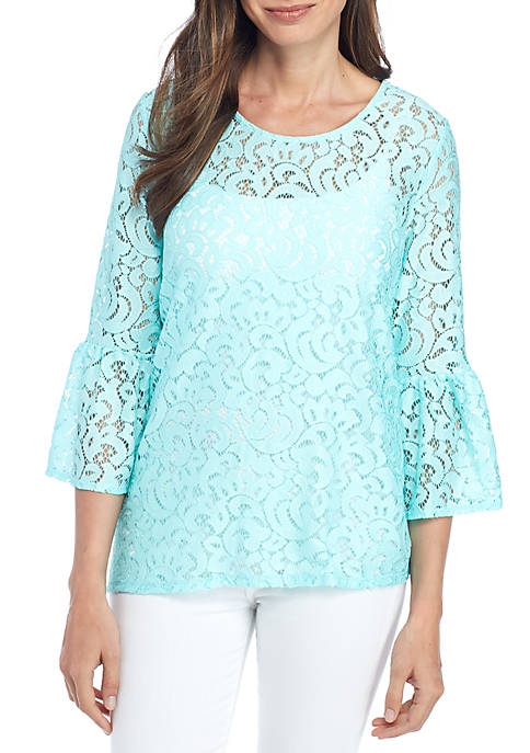 New Directions® Knit Lace Long Sleeve Scoop Neck