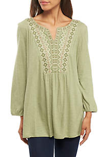 Embroidered Notch Neck Peasant Top