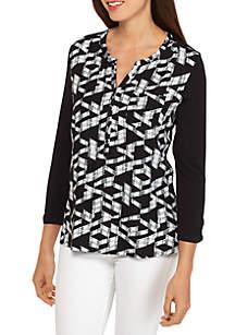 Knit/Woven Henley Top