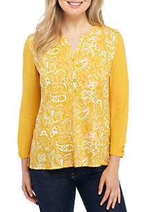 Paisley Knit Woven Henley Top