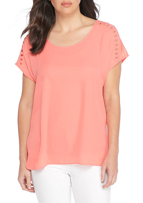 New Directions® Cutout Embroidered Tee