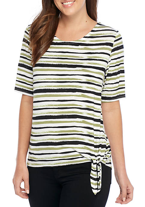 New Directions® Elbow Sleeve Striped Knot Front Top