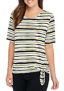 Elbow Sleeve Striped Knot Front Top