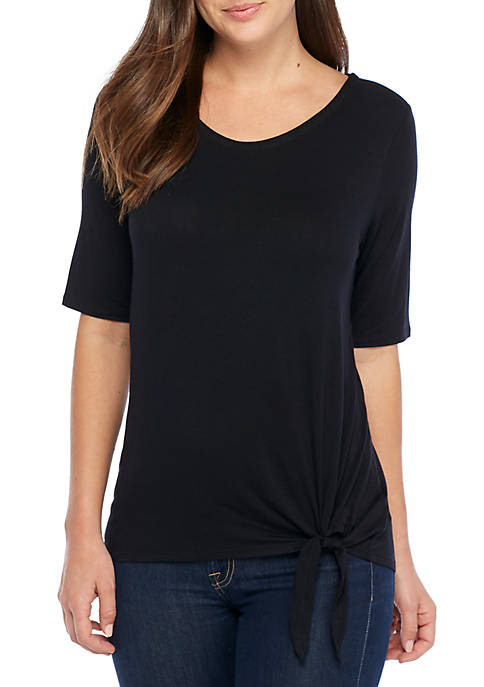 New Directions® Elbow Sleeve Knot Front T-Shirt