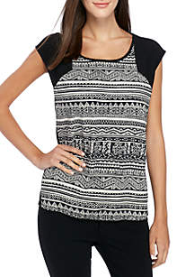Short Sleeve Knit to Woven Printed Top